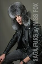 Blue Frost fox fur ushanka. Genuine leather top.
