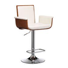 Premier Housewares Walnut Wood Bar Chair, White Leather Effect, Chrome Stool