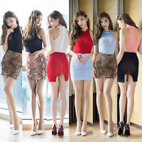 Women Lady Sexy Mini Skirt Short Sheer See Through Elastic Waist Fashion Party