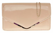 Ladies Faux Leather Patent Clutch Bag Glossy Shimmer Womens Handbag DESIGNER Nude