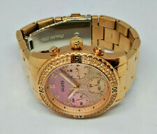 Ladies Guess Rose Gold Plated Confetti Pink Tone Multi Dial Watch