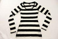New Express Womens #072675 Black & White Lace Striped Long Sleeve Shirt Size XS