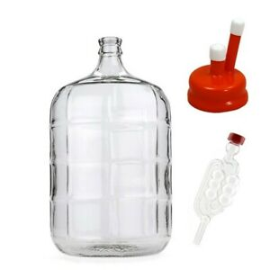 5 Gallon Glass Carboy Fermenter with Rubber Vent Cap & Airlock - homebrew -