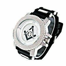 BRAND NEW!! ICED OUT ICE NATION SILVER/BLACK MASONIC WATCH WITH BULLET BAND