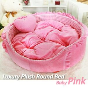 Luxury Pet Bed- Baby Pink Large Round Plush Supersoft Cuddly Bed for Dog/Cat