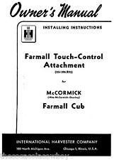 FARMALL  CUB Touch Control Attachment Owners Manual