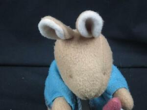 VINTAGE EDEN PETER RABBIT BLUE JACKET PINK CARROT KNIT EYES PLUSH STUFFED ANIMAL