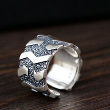 Solid 925 Sterling Silver Mens Heavy Tread Patterned Ring Open Adjustable Size