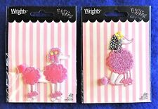 2pc Pink & White Standard Poodle Iron-On Patch Appliques Fifi & Gigi Wrights New