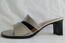 100% Donna Womens Ladies Silver Leather Mid Heeled Summer Sandals Size 4/37 New