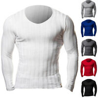 UK Men's V Neck Jumper Knit  Long Sleeve Tops Muscle T Shirt Top Pullover Autumn