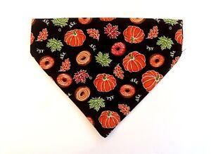 Fall Dog bandana slip over the collar Donuts Pumpkins Pet Scarf Neckerchief