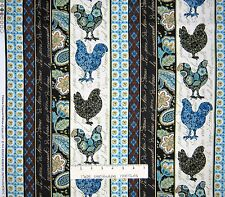 French Country Fabric - Blue & Brown Rooster Stripe - Timeless Treasures YARD