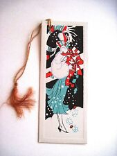 Vintage Art Deco Christmas Bridge Tally w/ Woman Carrying Packages *