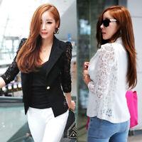 Women's Slim Suit Blazer Coat Lace Jacket Cardigan Blouse Outwear Blouse Top