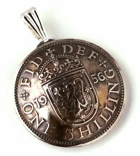 UK England Shilling Pendant Vintage Jewelry Necklace English Britain Crown Charm
