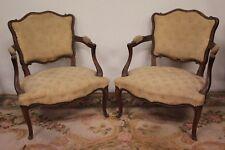 Coppia di poltrone / poltroncine / sedie francesi in legno e tessuto XX secolo