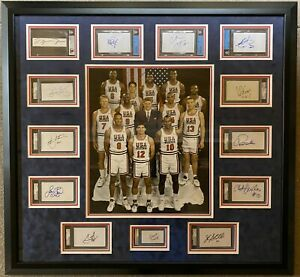 USA Dream Team Autographed Slabbed Cuts Frame PSA/DNA  Beckett JSA Full Letter