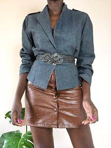 Image By Debenhams ladies blazer grey wool acrylic blend striped fitted vintage