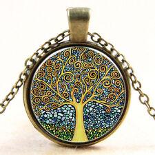 Rétro Vintage Collier Arbre de la Vie pendentif Chaîne bronzé Cabochon Verre