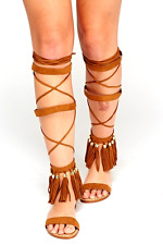Black,Brown Tassel High Leg Gladiator Sandals, Open Toe Zip back lace-up Strappy