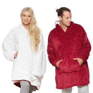 Comfy HOODIE SWEATSHIRT Wearable Blanket With Sleeves Large Pocket Fleece HOT