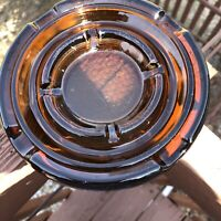 """Mid Century Modern Brown Glass Ashtray 5.5"""" Wide"""