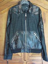 H&D Leather Jacket Distressed Leather & Black Denim Mix Sz XL AWESOME Jacket
