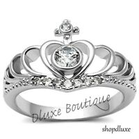 Women's Stainless Steel Queen Royalty Princess Crown CZ Fashion Ring Size 5-10