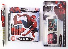 Marvel Ultimate Spider-Man Boy's Mechanical Pencil 2 Erasers and 12 Crayons NWT