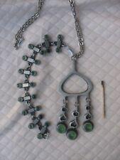 VTG. NICE tennesmed Sweden pendant with Chain & Bracelet Tin glass Pewter 60s