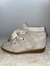 Isabel Marant Bobby Sneakers White Ivory Suede Wedge Heel Perforated 40 Shoes