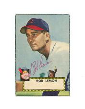 BOB LEMON signed 1952 TOPPS baseball card #268 HOF INDIANS