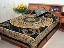 Om Symbol Beige Tapestry Bedspread Bedding Wall Hanging Indian Hippie Boho Decor