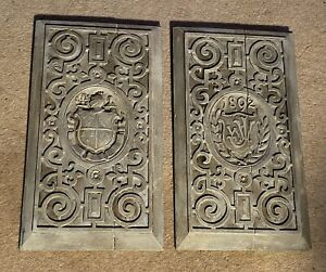 RARE PAIR OF ANTIQUE ENGLISH ARMORIAL COAT OF ARMS BLEACHED PINE CARVED PANELS
