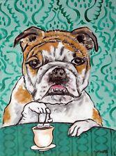 bulldog steeping tea time 8.5x11 print art work gift glossy modern folk