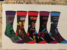 AVENGERS 3 MARVEL movie THOR Hulk NEW Men's 5 Pairs CREW SOCKS shoe SIZE 10-13