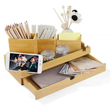 More details for bamboo desktop organiser stationery storage supply box caddy with drawer 3 and