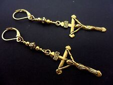 A PAIR OF  GOLD COLOUR LONG DANGLY CROSS CRUCIFIX LEVERBACK HOOK EARRINGS. NEW