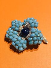 Marcel BOUCHER 1950's Faux Turquoise Blue Glass Beads Flower Brooch