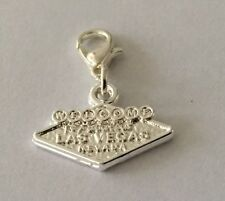 SILVER WELCOME TO LAS VEGAS SIGN CLIP ON CHARM-  SILVER PLATE -NEW