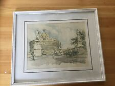 Original Watercolour of Castel Sant'Angelo, Rome. Framed Picture