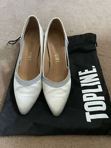 """LADIES SATIN OFF-WHITE BALLROOM DANCE SHOES SIZE 5 BY TOPLINE WITH 2.5"""" HEEL"""