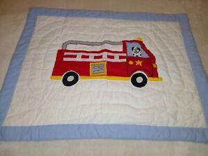 """Kids Boys Quilted Standard Pillow Shams Fire Truck Blue 20x26"""""""