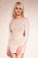 Sexy Langarm Kleid Minikleid Longpullover Pullover Nieten Beige 34 36 38
