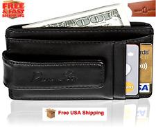 Mens Genuine Leather Wallet Slim Money Clip Credit Card ID Holder RFID Blocking