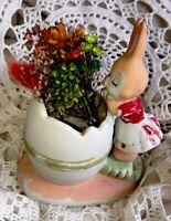 Vintage Signed Lefton? Porcelain Bunny Rabbit With Egg & Real Dried Flowers 💐!!