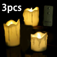 3xCandle Flameless LED Real Wax Lights Flickering Candles Wedding Remote-Control