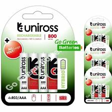 16 x Uniross HYBRIO AAA 800 mAh Rechargeable Batteries, Pre Charged NiMH HR03