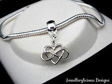 Beautiful Infinity Love You Forever Heart Snake Chain Charm Bracelet 20cm
